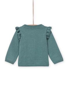 Cardigã verde caqui com padrão de cisne bebé menina MIKACAR / 21WG09I1CAR612