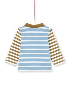 Polo azul-celeste e caqui às riscas bebé menino MUKAPOL / 21WG10I1POL020