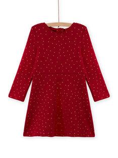 Vestido estilo patinadora vermelho às bolas em moletão menina MAJOLROB2 / 21W901N1ROBF504