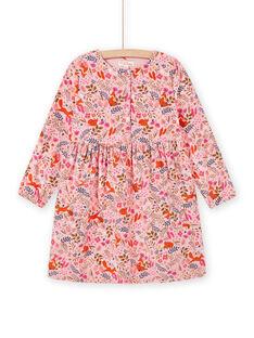 Vestido rosa-velho com estampado florido decorativo em veludo menina MASAUROB1 / 21W901P2ROB303