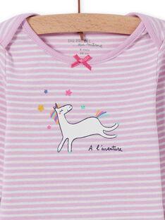 Body lavanda às riscas com padrão de unicórnio bebé menina MEFIBODLI / 21WH13C3BDL326
