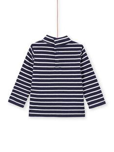 Camisola interior de mangas compridas azul-marinho às riscas bebé menino MUJOSOUP2 / 21WG10N1SPL070