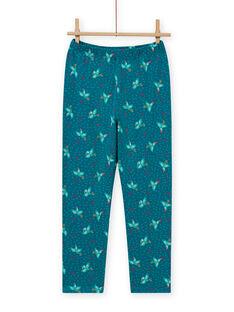 Conjunto de pijama fosforescente turquesa pássaro menina MEFAPYJTOU / 21WH1172PYGC217