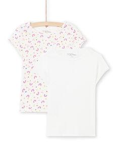 Lote de 2 t-shirts brancas com padrões combináveis menina MEFATEARC / 21WH11B2HLI001