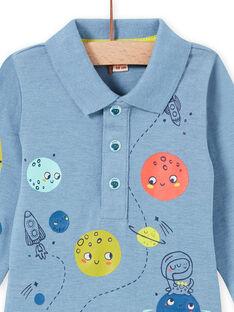 Body azul mesclado com gola padrão de espaço bebé menino MUPLABOD / 21WG10O1BODC224