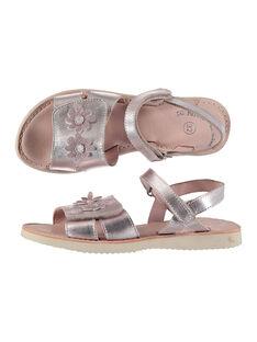 Sandálias citadinas em couro metalizado menina FFSANDSAM / 19SK35C3D0E030