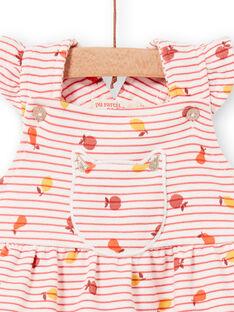 Vestido rosa e laranja às riscas bebé menina LINAUROB2 / 21SG09L1ROB318
