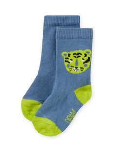 Meias azul-celeste e verde com padrão tigre bebé menino MYUJOCHOU2 / 21WI101BSOQ020