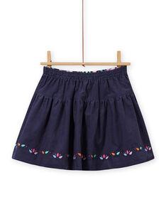 Saia reversível azul noite com estampado florido menina MAPLAJUP1 / 21W901O1JUPC202
