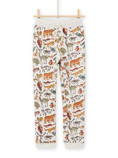 Calças de fato de treino bege mesclado com estampado de animais menino MOSAUJOG / 21W902P1JGBA013