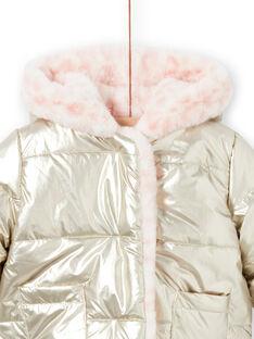 Blusão com capuz reversível dourado e rosa bebé menina MIORDOUREV / 21WG0951D3EA006