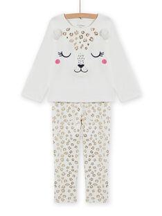 Conjunto pijama em veludo com estampado leopardo menina MEFAPYJFEL / 21WH1198PYJ001
