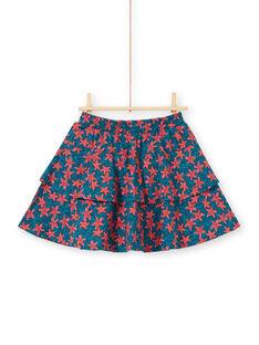 Saia-calções estampado estrela-do-mar com folhos menina LABONJUP1 / 21S901W2JUP716