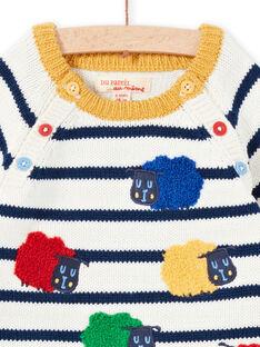 Camisola cru e azul-marinho às riscas bebé menino MUMIXPUL / 21WG10J1PUL001