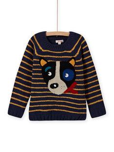 Camisola de mangas compridas às riscas e padrão cão menino MOMIXPUL / 21W902J1PUL717