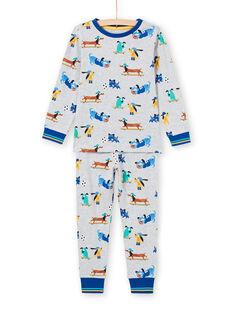 Pijama cinzento mesclado com padrões cães menino MEGOPYJDOG / 21WH1235PYJJ922