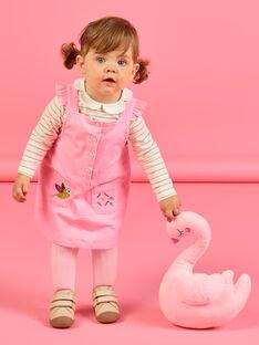 Vestido-jardineiras em veludo canelado rosa bebé menina MIKAROB2 / 21WG09I2ROBD316