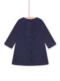 Vestido azul-marinho em veludo com padrão de savana bordado bebé menina MIPLAROB1 / 21WG09O3ROBC202