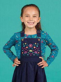 T-shirt mangas compridas azul-pato com estampado florido menina MATUTEE4 / 21W901K2TML714