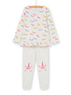Pijama t-shirt e calças cinzento mesclado e rosa criança menina LEFAPYJUNI / 21SH115APYJ006
