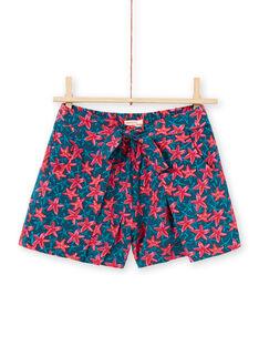 Calções azul-pato e vermelho estampado estrela do mar menina LABONSHORT2 / 21S901W3SHO716