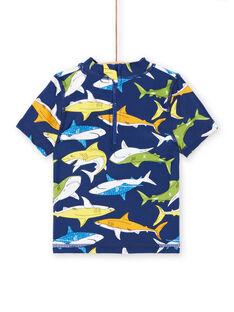 T-shirt anti-UV azul-marinho bebé menino LYUTEEUVEX1 / 21SI10D4TUV070