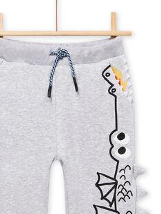 Calças de fato de treino cinzento mesclado com padrão de dragão menino MOPLAJOG / 21W902O1JGBJ922
