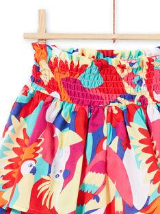 Saia com smocks e folhos e estampado de papagaio menina JAMARJUP2 / 20S901P3JUP000