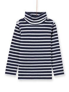 Camisola interior de mangas compridas azul noite e branco às riscas menino MOJOSOUP4 / 21W902N4SPL705