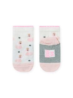 Meias cru e rosa com estampado cisne bebé menina MYIKASOQ / 21WI09I1SOQ001
