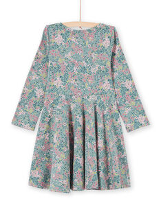 Vestido caqui e rosa estampado florido menina MAKAROB5 / 21W901I2ROB612