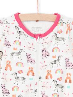 Babygro cru com estampado animais, arco-íris e coroas coloridas bebé menina MEFIGREANI / 21WH1333GRE001