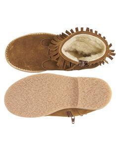 Boots com franja crosta de couro camel criança menina GFBOOTFRAN / 19WK35X3D0D804