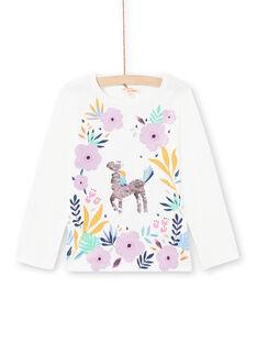 T-shirt branca e rosa menina MAPLATEE2 / 21W901O1TML001