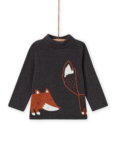 Camisola interior com gola alta cinzento antracite com padrão de raposa bebé menino MUSAUSOUP / 21WG10P1SPL944