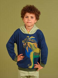 Sweat com capuz azul noite com padrão de leão menino MOKASWE / 21W902I1SWE705