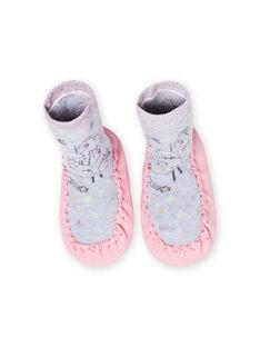 Pantufas altas cinzento mesclado padrão lama bebé menina MICHO7LAMA / 21XK3721D08943