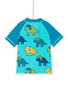 T-shirt anti-UV azul e turquesa bebé menino LYUTEEUVEX2 / 21SI10D3TUVC215