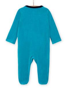 Babygro azul turquesa de veludo com padrão de ursinhos bebé menino MEGAGREOUR / 21WH1484GRE202