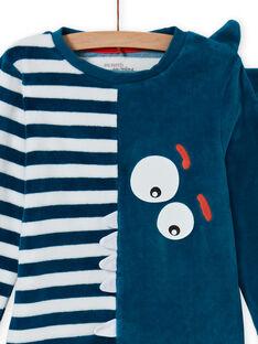 Conjunto pijama fosforescente azul padrão crocodilo menino MEGOPYJVER / 21WH1231PYJC225