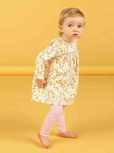 Conjunto vestido branco e amarelo com estampado florido e leggings brancas e vermelhas às riscas bebé menina LINAUENS1 / 21SG09L2ENS001