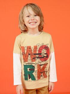 T-shirt mangas compridas bege e cru com padrões decorativos menino MOCOTEE1 / 21W902L1TMLA006