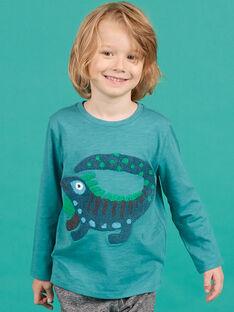 T-shirt azul-turquesa com estampado decorativo menino MOTUTEE5 / 21W902K2TMLC239