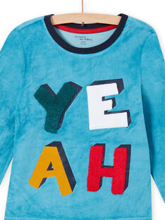 Conjunto de pijama azul safira com padrão YEAH menino MEGOPYJYEAH / 21WH1296PYJC211