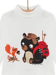 Camisola interior cru com padrão ursinho e esquilo bebé menino MUFUNSOUP / 21WG10M1SPL001