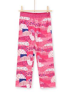 Pijama T-shirt e calças fúcsia e branco menina LEFAPYJWAXEX / 21SH115DPYJ030