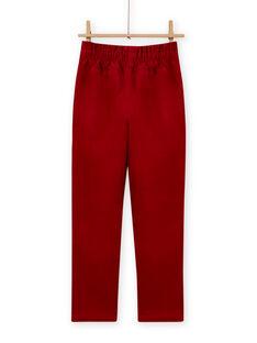 Calças estilo paperbag de veludo canelado vermelho menina MAFUNPANT2 / 21W901M1PANF504