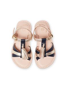 Sandálias de couro dourado e azul-marinho com pompons menina LFSANDLOUISE / 21KK355PD0E954