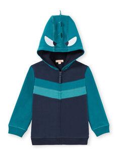 Casaco de malha com fecho zip azul-noite com capuz e estampado decorativo menino MOTUGIL2 / 21W902K2GIL705