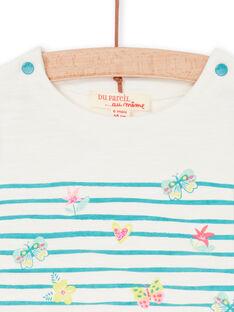 T-shirt branca e azul às riscas bebé menina LIVERTI2 / 21SG09Q1TMC001